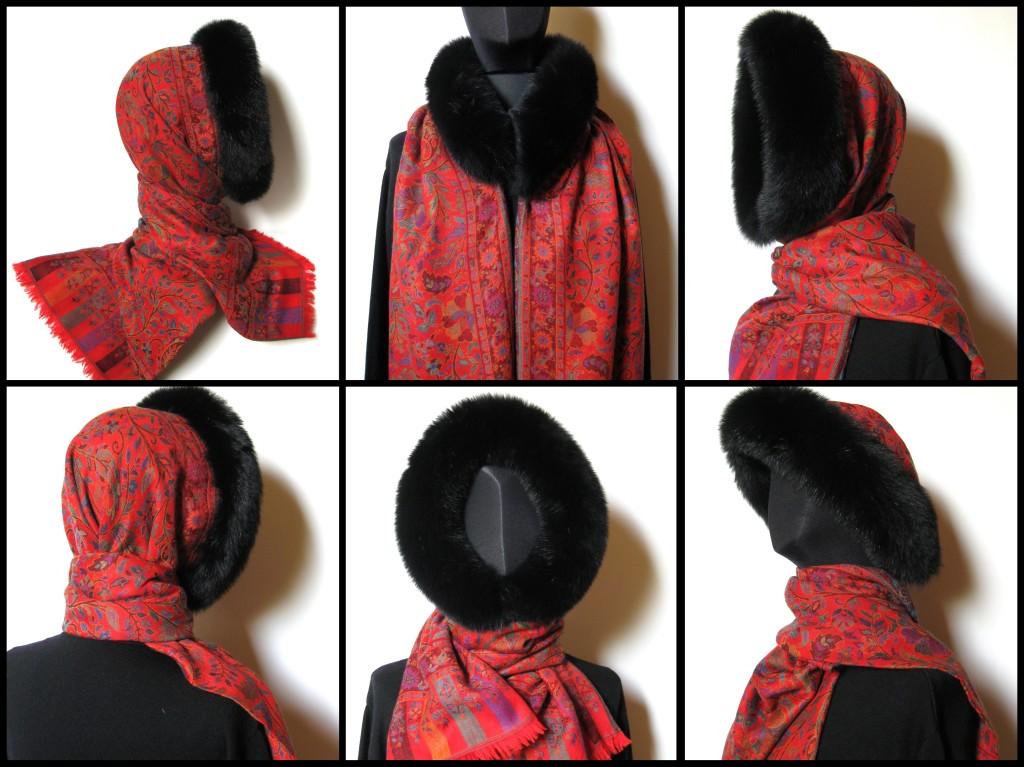 Rødt cashmere sjal