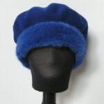 Blå Alpehue, Baret i økologisk merino uld m. mink kant.