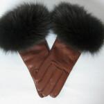 Skind Handsker med pelskant til damer. Monteret på en Randers Handske.