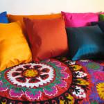 sengetæpper,suzani, bolig, boligindretning, tæpper, quilts, indiske sengetæpper, samarkand, jane eberlein, interiør, senge