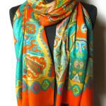 Silketørklæde med paisley print, samarkanddk