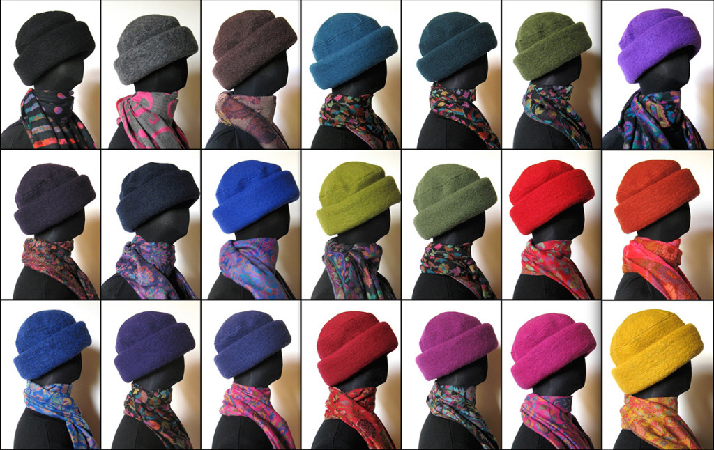 Uldhuer / Uld hatte fås nu i 22 farver. Syet af kogt uld. Er foret indvendig.