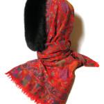 Uld /cashmere tørklæde m. pelskant / pelshætte /pelskrave